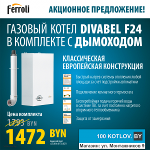 Акция на газовый котел Ferroli DIVABEL F 24 до 1 октября!